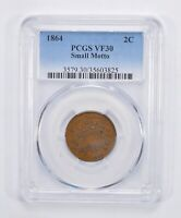 VF30 1864 TWO-CENT PIECE - SMALL MOTTO - PCGS GRADED 3042