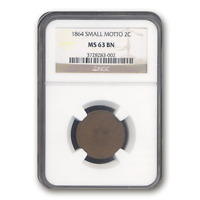 1864 TWO CENT PIECE MINT STATE 63 NGC BROWN, SMALL MOTTO - SKU195531
