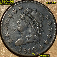 1810/09 CLASSIC HEAD LARGE CENT OVERDATE VF