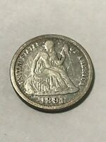 1891 SEATED LIBERTY DIME F 18447