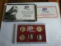 2008 S STATE QUARTER SILVER PROOF SET WITH BOX AND COA