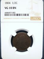 1804 1/2C DRAPED BUST COPPER HALF CENT VARIETY: CROSSLET 4 STEMS NGC VG10 BROWN