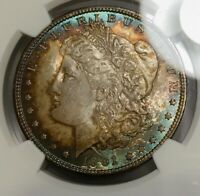 1901-O MORGAN DOLLAR NGC MINT STATE 65 ANTIQUE RAINBOW TONED BLUE HALO DUAL SIDE TONING