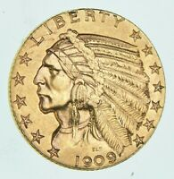 SUPER FRESH   1909 D $5 INDIAN HEAD HALF EAGLE US LIBERTY GO