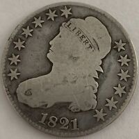 1821 50C CAPPED BUST SILVER HALF DOLLAR REMODELED GOOD