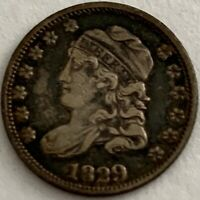 1829 5C CAPPED BUST SILVER HALF DIME VF