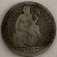 1887-P 10C LIBERTY SEATED SILVER DIME GOOD