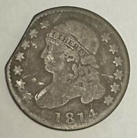 1814 10C CAPPED BUST SILVER DIME WIDE BORDER LARGE DATE CLIPPED