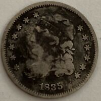 1835 5C CAPPED BUST SILVER HALF DIME LARGE DATE LARGE 5 VG-F