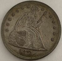 1871-P $1 LIBERTY SEATED SILVER DOLLAR WITH MOTTO VF-EXTRA FINE