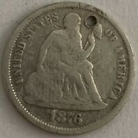 1876-S 10C LIBERTY SEATED SILVER DIME HOLE