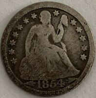1854-O 10C LIBERTY SEATED SILVER DIME STARS & ARROWS OBV. GOOD