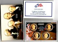 2007 S PRESIDENTIAL PROOF COIN DOLLAR SET 4 COINS COMES WITH BOX AND COA