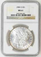 1880-O NGC MINT STATE 61 MORGAN SILVER DOLLAR LT EDGE TONE GREAT LUSTER - I-19140