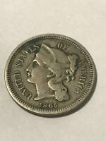 1865 NICKEL 3 CENT NICKEL VF 18645