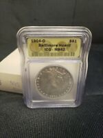 1904-O $1 MORGAN SILVER DOLLAR COIN ICG MINT STATE 62 : FROM THE