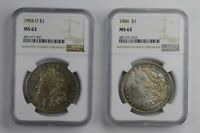 LOT 2 MINT STATE 63 1886 & 1904-O MORGAN SILVER DOLLARS - TONED - GRADED NGC 0836