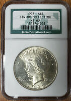 1923 P NGC MS63 SILVER PEACE DOLLAR BINION COLLECTION