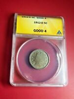 1912-D 5C LIBERTY HEAD V NICKEL ANACS GOOD 4