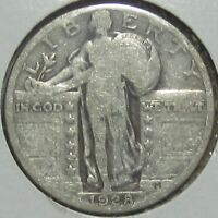 1928 STANDING LIBERTY SILVER QUARTER, FINE  FREE SHIPPPING