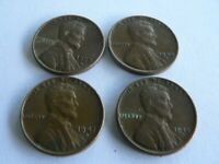 1957 D, 1947 D, 1945 D , 1940 D LINCOLN WHEAT CENTS, UNGRADED, UNCERTIFIED, CIRC