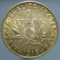 NICELY TONED UNCIRCULATED 1918 FRENCH SILVER 1 FRANC