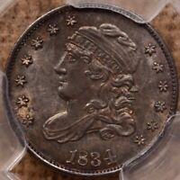 1834 LM 4 CAPPED BUST HALF DIME PCGS MS63 PRETTY TONING PQ  DAVIDKAHNCOINS