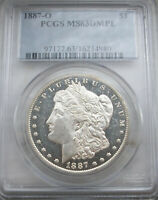 GORGEOUS PQ 1887-O PCGS DMPL MINT STATE 63  MORGAN SILVER DOLLAR  SUPER DEEP/FROSTY VAM?