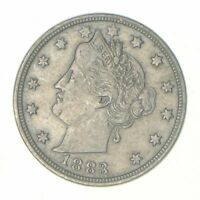 HISTORIC   1883 'NO CENT' LIBERTY V NICKEL   TOUGH   FIRST YEAR ISSUE VF/XF  1