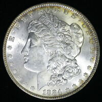 1884 0 -  MORGAN  SILVER  DOLLAR - BU GEM
