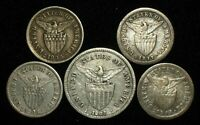 5 SILVER COINS FROM THE PHILIPPINE ISLANDS.  1907 1935.   NO