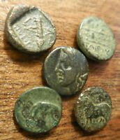 LOT OF 5 VF VERY FINE PLUS ANCIENT GREEK COINS EASY TO ID GO