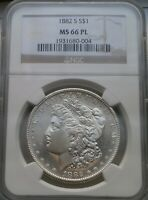 1882 S $1 MORGAN SILVER DOLLAR NGC MINT STATE 66 PL PROOFLIKE-SUPERB GEM-
