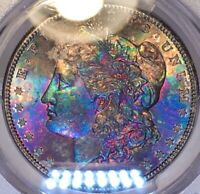 1882-S MORGAN DOLLAR PCGS MINT STATE 65 VIBRANT TEXTILE TONED GEM COLORFUL RAINBOW TONING