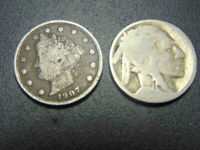 VINTAGE 1907 LIBERTY NICKEL & BUFFALO NICKEL WITH NO DATE.   COLLECTABLE