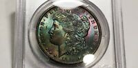 1885-O MORGAN DOLLAR PCGS MINT STATE 63 RAINBOW TONED COLORFUL EMERALD BLUE RED TEAL