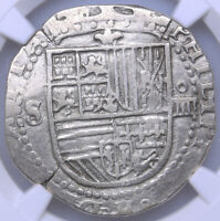 SPAIN SEVILLE SQUARE D 4 REALES 1556 1598 PHILIP II NGC VF 3
