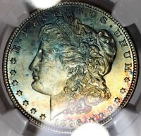 1896-P MORGAN DOLLAR NGC MINT STATE 64STAR W/CAC RAINBOW TONED WATERCOLOR BLUEROSE