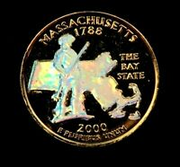 2000 D MASSACHUSETTS STATE QUARTER // 24K GOLD PLATED   HOLO