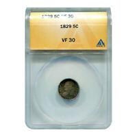 CERTIFIED BUST HALF DIME 1829 VF30 ANACS