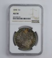 AU58 1890 MORGAN SILVER DOLLAR - RAINBOW TONED - GRADED NGC 0872