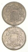 LOT 2 1867 & 1868 SHIELD NICKELS 2736