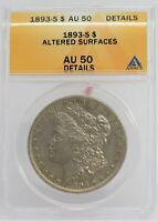 1893-S MORGAN SILVER DOLLAR ANACS AU50 DETAILS CERTIFIED COIN - JC839