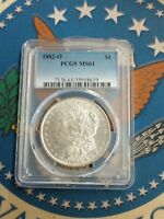 TOP 100 1882 O/S EDS PCGS MINT STATE 61 VAM-5 BROKEN S $1 ONE MORGAN SILVER DOLLAR COIN