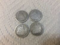 1874  1883 AND 2 1891 SILVER DIMES LOT OF 4
