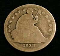 1838 SEATED LIBERTY DIME 10C 13 STARS VG GOOD TYPE SILVER US COIN LOT CC359