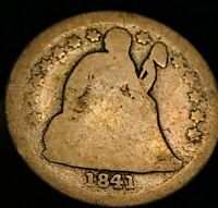 1841 P SEATED LIBERTY DIME 10C VG OBVERSE GOOD TYPE SILVER US COIN LOT CC362