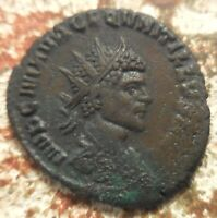 SHARP BUST OF QUINTILLUS 270 AD. RADIATE ROME. RADIATE AND CUIRASSED BUST
