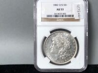 1882 O/S NGC AU 53 VAM 3 EDS SILVER DOLLAR GREAT LUSTER