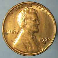 1937 S LINCOLN WHEAT CENT   FULL RED BU